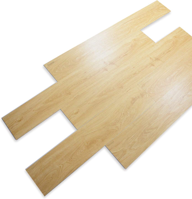 Nisorpa Vinyl Planks Flooring Tiles 8pcs SPC Floor Plank Interlocking Floating Planks Glue Free Wood Grain with Cork Underlay 5.7mm for Home Office Bathroom
