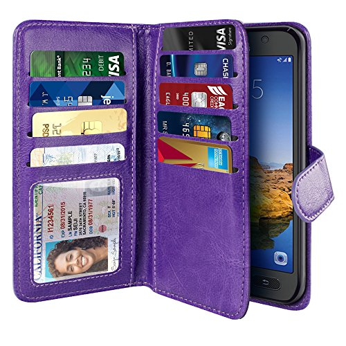 NEXTKIN Galaxy S7 Active Case, Leather Dual Wallet Folio TPU Cover, 2 Large Pockets Double flap Privacy, Multi Card Slots Snap Button Strap For Samsung Galaxy S7 Active G891 - Purple
