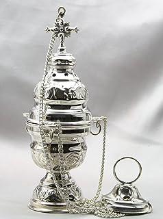 Incensario de plata incensario de latón con inserto + Cadena 20cm 20 x 8 cm