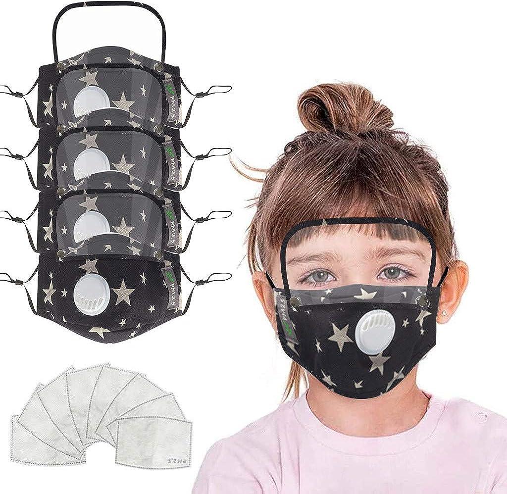 Skang Infantil 4xProtector Facial Tela con Válvulas de Respiración y Gafas Protectoras+8pcs Filtros de Carbón Activo Almohadilla Reutilizables Deportes al Aire Libre BATC-74DA