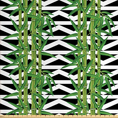 Lunarable Bamboo Fabric by the Yard, Japanese Jungle Eco Theme Tropical Nature Growth with Geometric Backdrop, Decorative Fabric for Upholstery and Home Accents, Black White Green - Geometric Upholstery