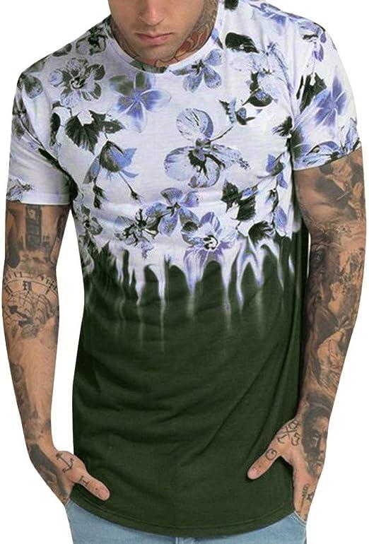 Mens Casual Summer Short Sleeve T Shirt Print Tee O Neck Blouse Top