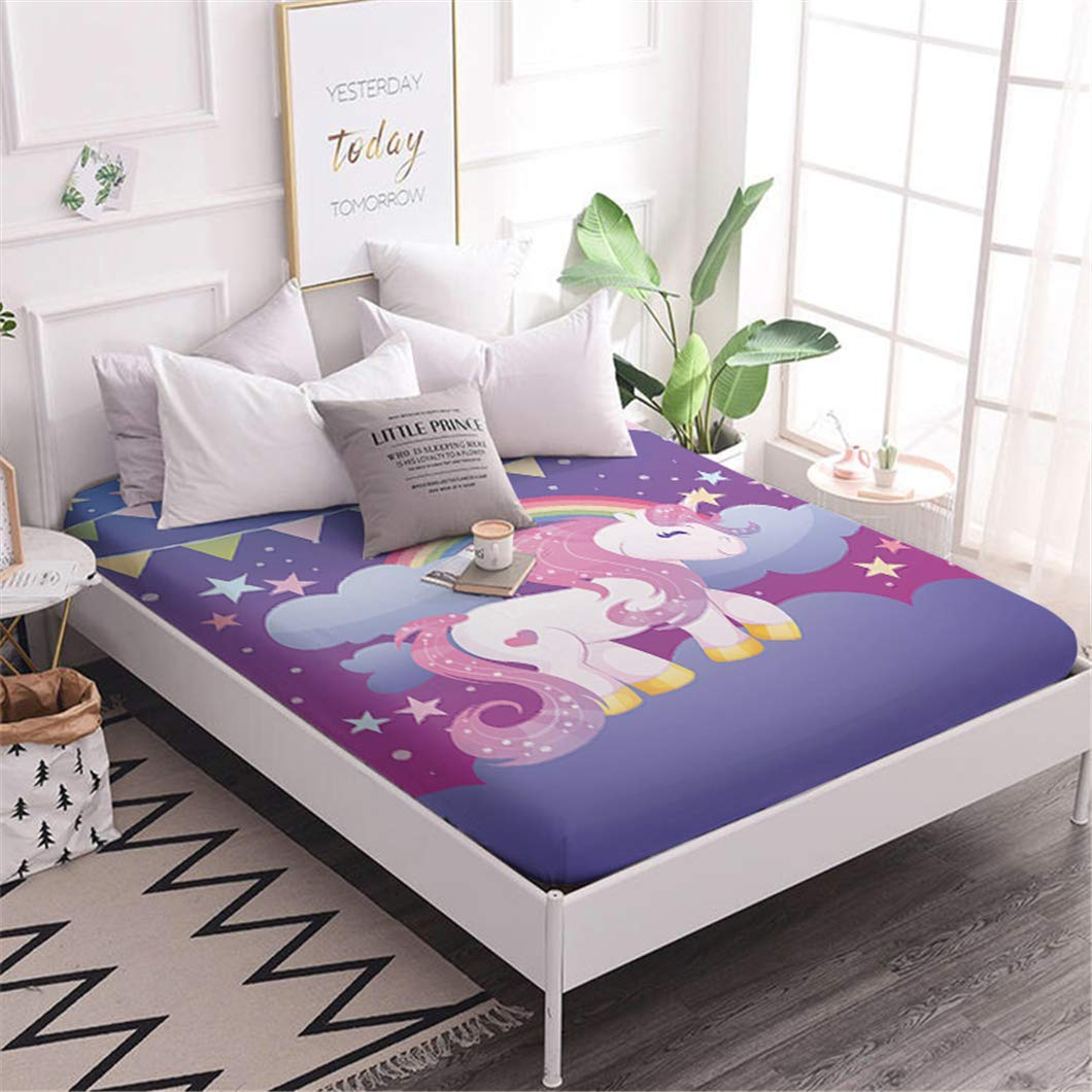 Jessy Home Purple Unicorn Bedding Twin for Girls,Cartoon 3D Gifts for Children 1 Piece Full Size Deep Pocket Bedding Fitted Sheet by Jessy Home