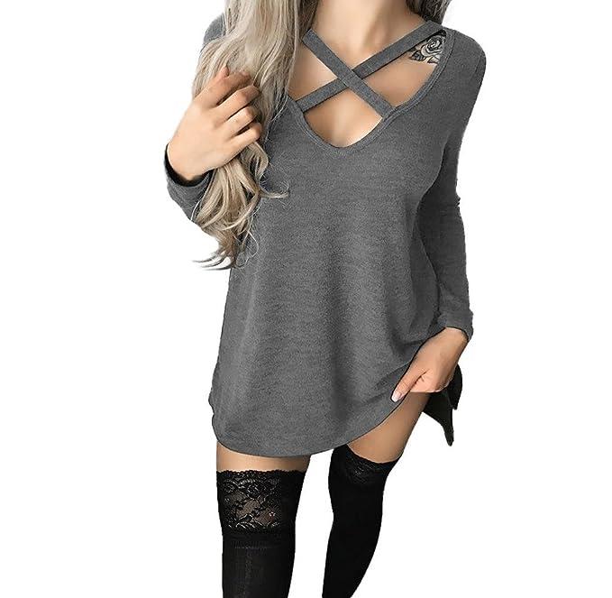 Holacha Camiseta Cuello en V para Mujer, Camisa Blusa de Manga Larga Diseño Cruzado Moda