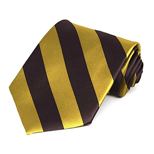 f49f356cb173 TieMart Brown and Gold Striped Tie at Amazon Men's Clothing store: