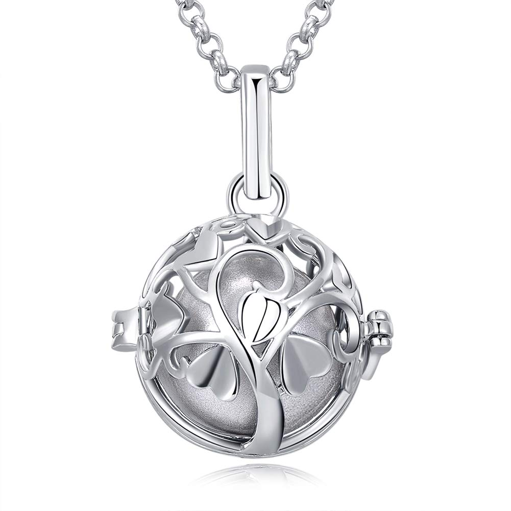 Love Tree Necklace for Women Harmony Ball Pendant Necklaces Locket Gifts for Women Girls