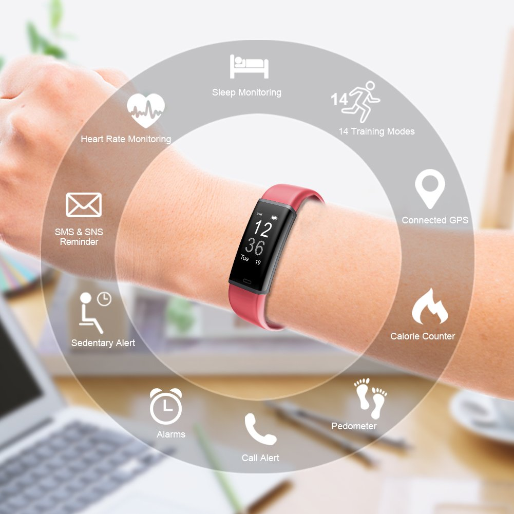 Fitness Tracker Orologio Smart con Bluetooth e contapassi con cardiofrequenzimetro 14 modalit/à di Sport programmabili per Uomo Donna e Bambino Lintelek