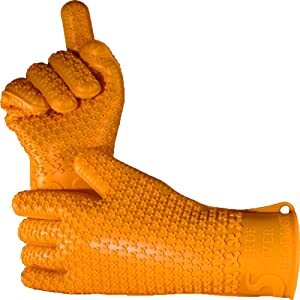 Verde River Products Gecko Grip Gloves - Silicone Heat Resistant Grilling BBQ - Oven - Grill - Baking - Smoking and Cooking Gloves Small - Sunset Orange