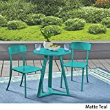 Christopher Knight Home 304949 Larissa Outdoor Iron Bistro Set, Matte Teal