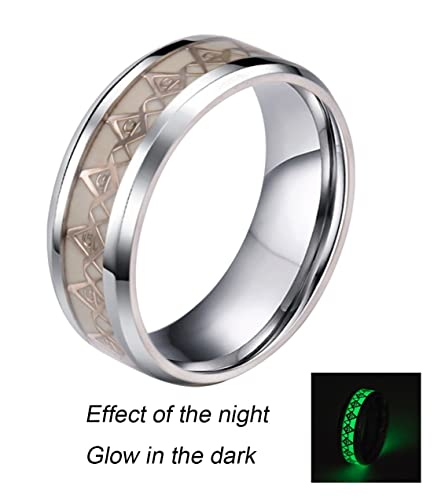 74b72d058abf7 Rinspyre 8MM Stainless Steel Luminous Ring Glow in the Dark Wedding ...
