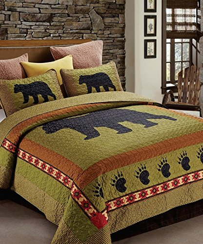 Ranch Quilt Set (3pc KING Size Rustic Cabin/Lodge Bear Paw Quilt Set (105