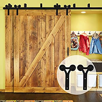 this item ccjh y barn door hardware 12 ft bypass system hardware sliding rail track for interior double wooden doors black - Bypass Barn Door Hardware