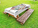 Ambesonne Map Outdoor Tablecloth, Traditional Symbols in The Form of United States of America Map Travel Landmarks Flag, Decorative Washable Picnic Table Cloth, 58 X 104 inches, Multicolor