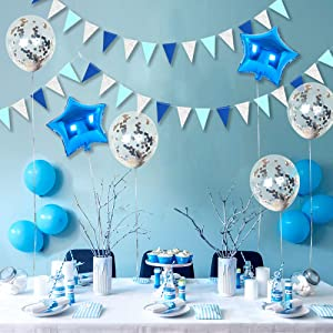 Blue and Silver Party Decorations,Glitter Banner Flag Kit,Twinkle Star Balloon Set,Silver Confetti Balloon, Foil Balloon and Twinkle Triangle Flag for Birthday Supplies Winter Party Decor …