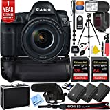 Canon EOS 5D Mark IV 30.4 MP Full Frame DSLR Camera + EF 24-105mm f/4L IS II USM Lens + Pro Memory Triple Battery & Grip SLR Video Recording Bundle - Newly Released 2018 Beach Camera