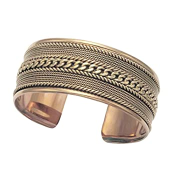 Rope Design Brass Cuff Bracelet for Men and Women