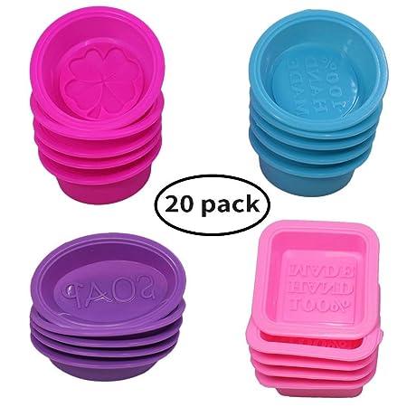 20 Stück Silikon-Seife, die Formen, quadratische Runde oval geformt, FineGood weiche Cupcake Muffin Backform für DIY hausgema