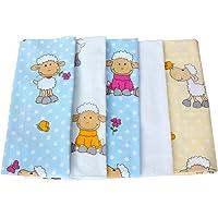 ByBoom - Baby molton doeken - flanel luiers - spuugdoekjes - kleurig - 70x80 cm - set à 5 stuks, 100% katoen - knuffelig…