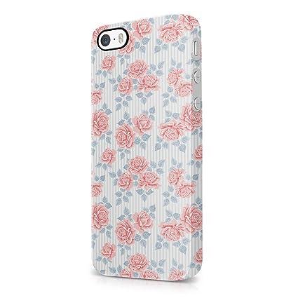 Vintage Floral Flowers Pink Roses And Lines Pattern Indie Tumblr Boho Hard Plastic IPhone SE Phone