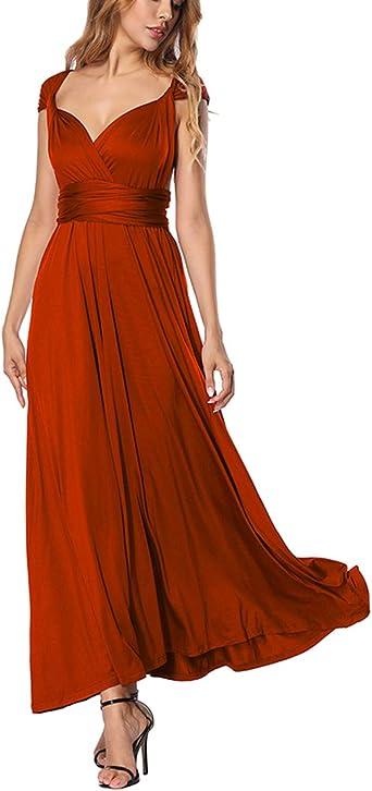TALLA M(ES 40-44). FeelinGirl Mujer Vestido Maxi Convertible Espalda Decubierta Cóctel Multiposicion Tirantes Multi-Manera Largo Falda para Fiesta Ceremonia Sexy y Elegante Rojo M(ES 40-44)