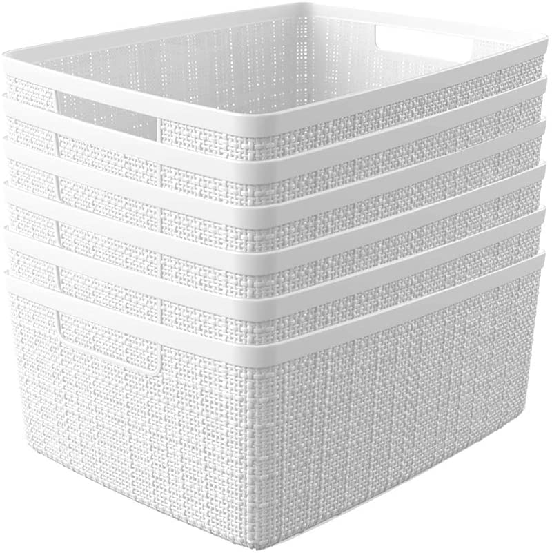 Curver Set of 6 - Perfect Bins for Home Office, Closet Shelves, Kitchen Pantry and All Bedroom Essentials Jute Medium Decorative Plastic, White