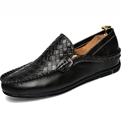 Men's Loafers Casual Slip Ons Driving Office Work School Shoes Soft Cow Leather Flats Black US5.5