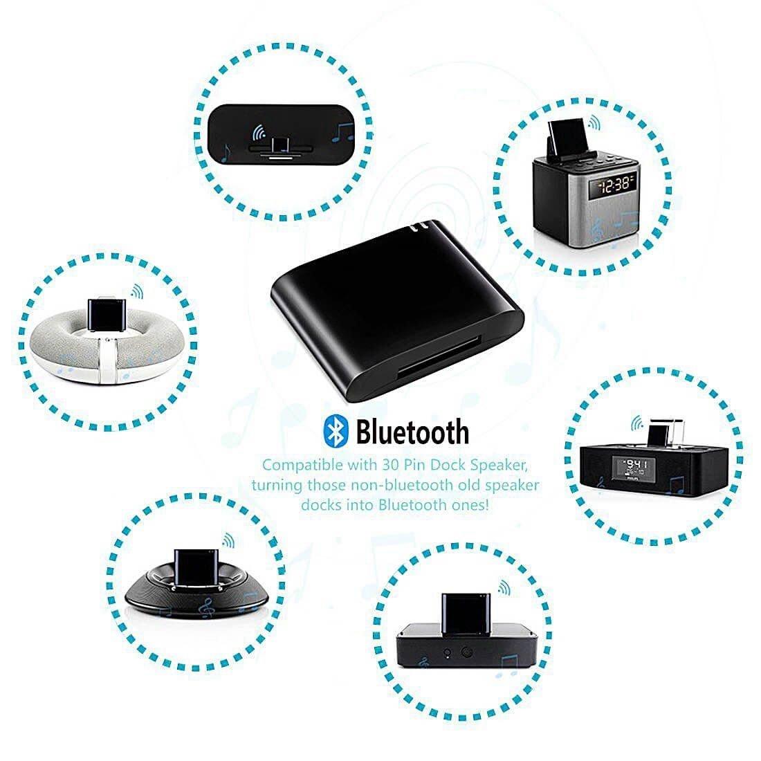 No es Compatible con ningun Coche Negro TOOGOO Adaptador Bluetooth 4.1 DE 30 Pines Receptor de Musica de Audio A2DP para Bose Sounddock y Altavoz de Base iPod iPhone DE 30 Pines