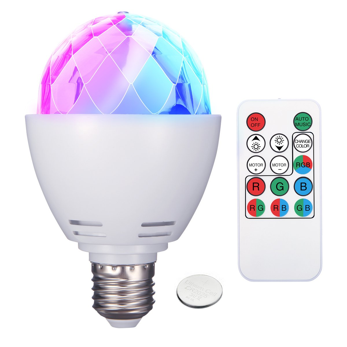 Disco Ball Lights, ELEGIANT 3W E27 RGB DJ Ball Lamp Rotating LED Stage Lights for Disco Party Bar Club Dj Show Wedding Ceremony Stage Effect Light with Remote Control Battery Included