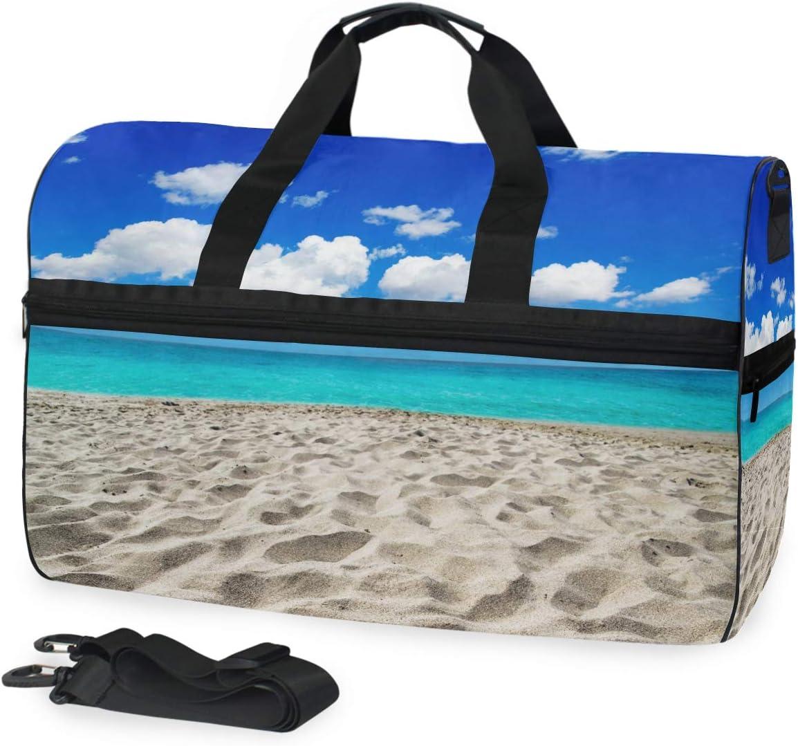 TFONE Summer Ocean Sea Beach Theme Duffel Bag Sports Gym Weekend Bags with Shoe Compartmen
