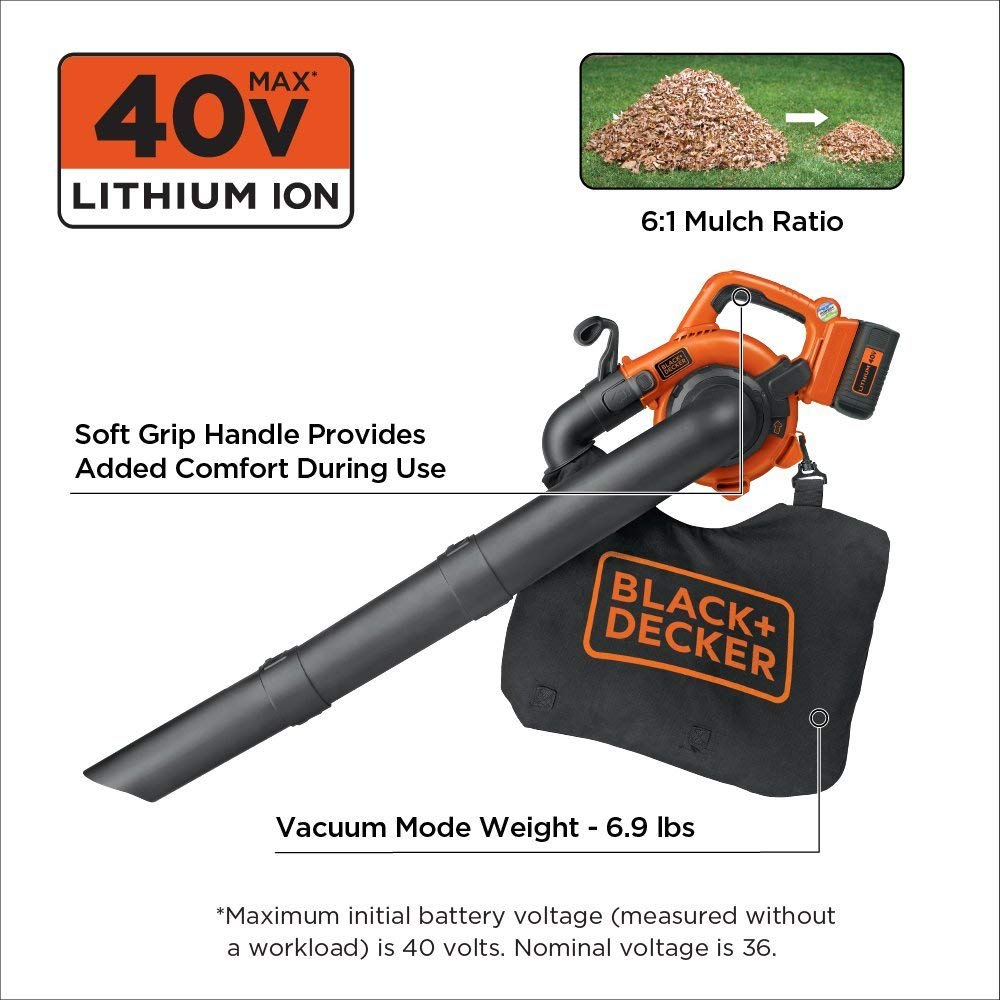 36-Volt BLACK+DECKER LSWV36B Bare Lithium Ion Sweeper//VAC Renewed