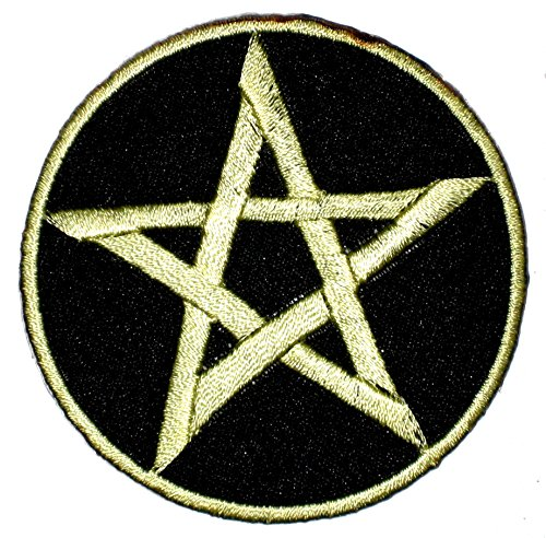 Patch Iron on Sew on Pentagram 2.76 Inch / 2.76 Inch