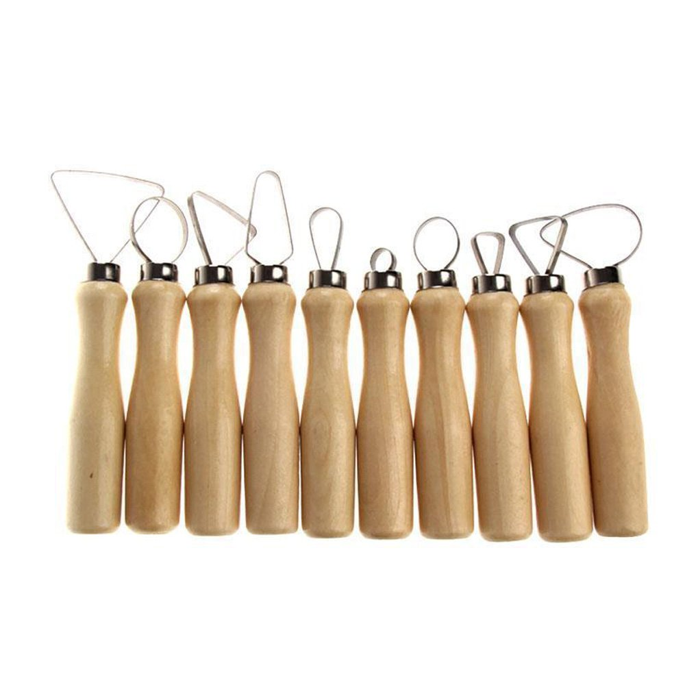 Highmoor Pottery Wire Clay Cutter, Stainless Steel Wooden Thick Handle Flat Wire Cutter Clay Pottery Clay Sculpting Tool Kit