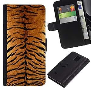 KLONGSHOP / Tirón de la caja Cartera de cuero con ranuras para tarjetas - Tiger Furry Pattern Animal Wild Big Cat - Samsung Galaxy Note 4 SM-N910
