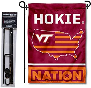College Flags & Banners Co. Virginia Tech Hokies Garden Flag with USA Country Stars and Stripes and USA Flag Stand Pole Holder Set