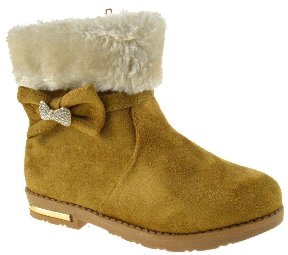Bot 03-04KM Girls Rhinestone Strap Comfort Ankle Boots Camel 10