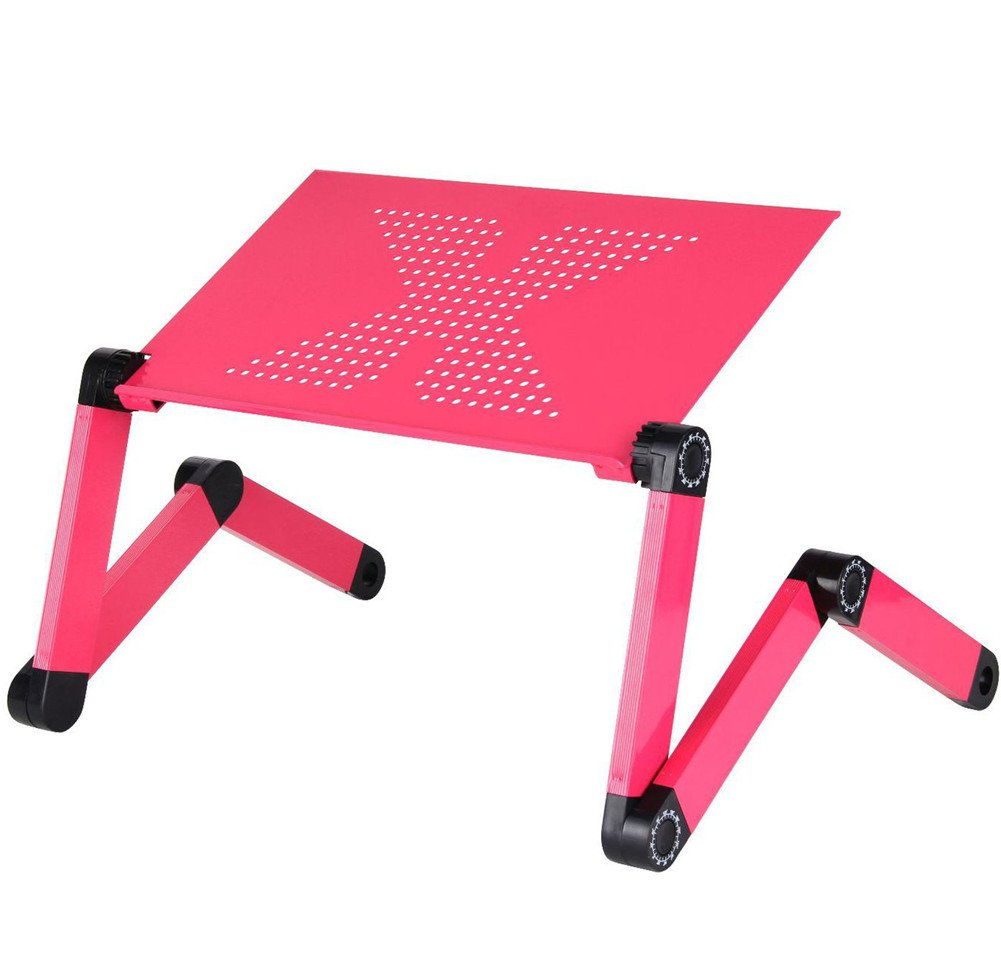 Kangsur Foldable Laptop Desk Stand Ergonomic Adjustable Laptop Table for Bed and Couch,red
