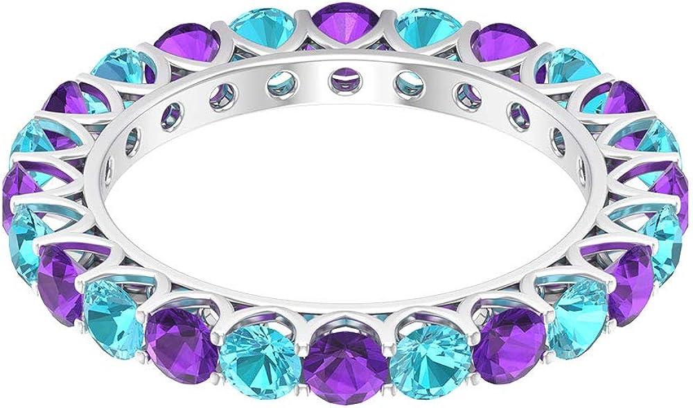Anillo de boda vintage con certificado de topacio azul, amatista suizo, amatista, alternativa, morado, azul, piedra preciosa, anillo de eternidad, para mujer, regalo, 14K Oro