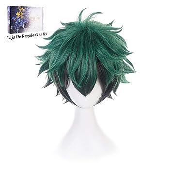 Anime Cosplay Peluca Verde Negro Mezcla de pelo corto Disfraz de ...