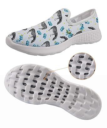a600715ac Amazon.com  White Floral Zebra Print Women Mesh Slip On Water Shoes Unique  Personality Shoes  Clothing