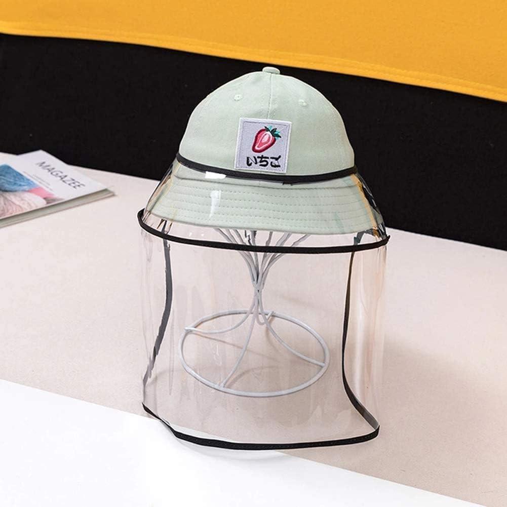 BWJL Excelente Casco Anti-escupir con una Cara extraíbles de plástico Transparente, Sun del Casquillo del Sombrero del tapón Antipolvo Fischer escupió niñas,Verde