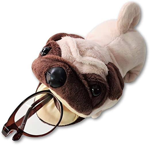 Terra Distribution Eyeglass Holder Stand, Dog Plush [Japan Import] Cute Funny Unique Design Animal Eyeglass Stands for Women, Men, Kids, and Gifts (Pug)