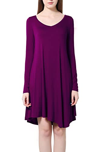 Tandisk Women's Long Sleeve Casual Loose T-Shirt Dress
