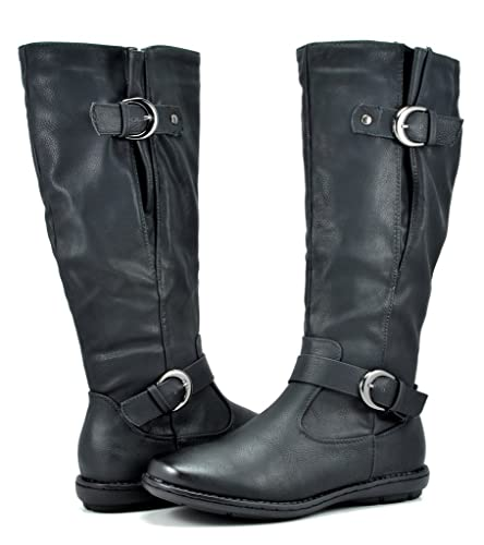 17845e36ab4 DREAM PAIRS Women s Summit Black Faux Fur-Lined Knee High Winter Boots Wide  Calf Size