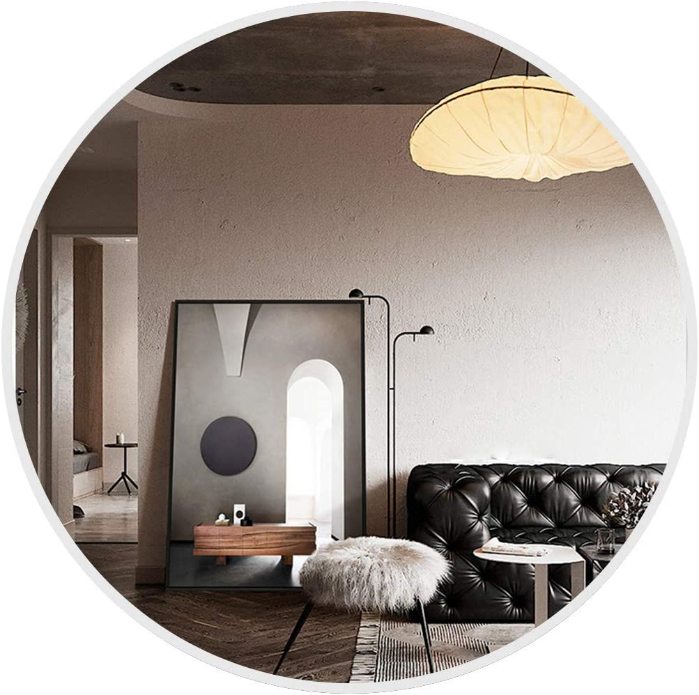 Vlush 28 Inch Large Round Wall Mirror, Circle Mirror for Living Room, Entryway, Bedroom, Bathroom, Vanity Mirror, Silver