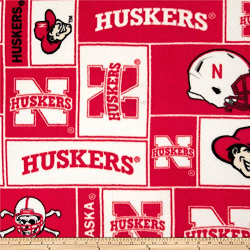 University of Nebraska Huskers Patch Block Print Polyester Fleece Fabric, Scarlet & Cream - Sold By the Yard