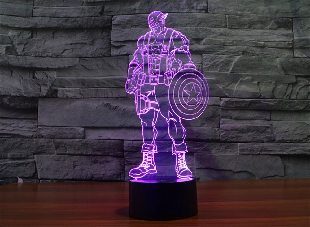SmartEra® 3D Optical Illusion 2016 New Captain America Panel Model Lighting Night 7 Color Change USB Touch button LED Desk Table Light Lamp by SmartEra® (Image #7)