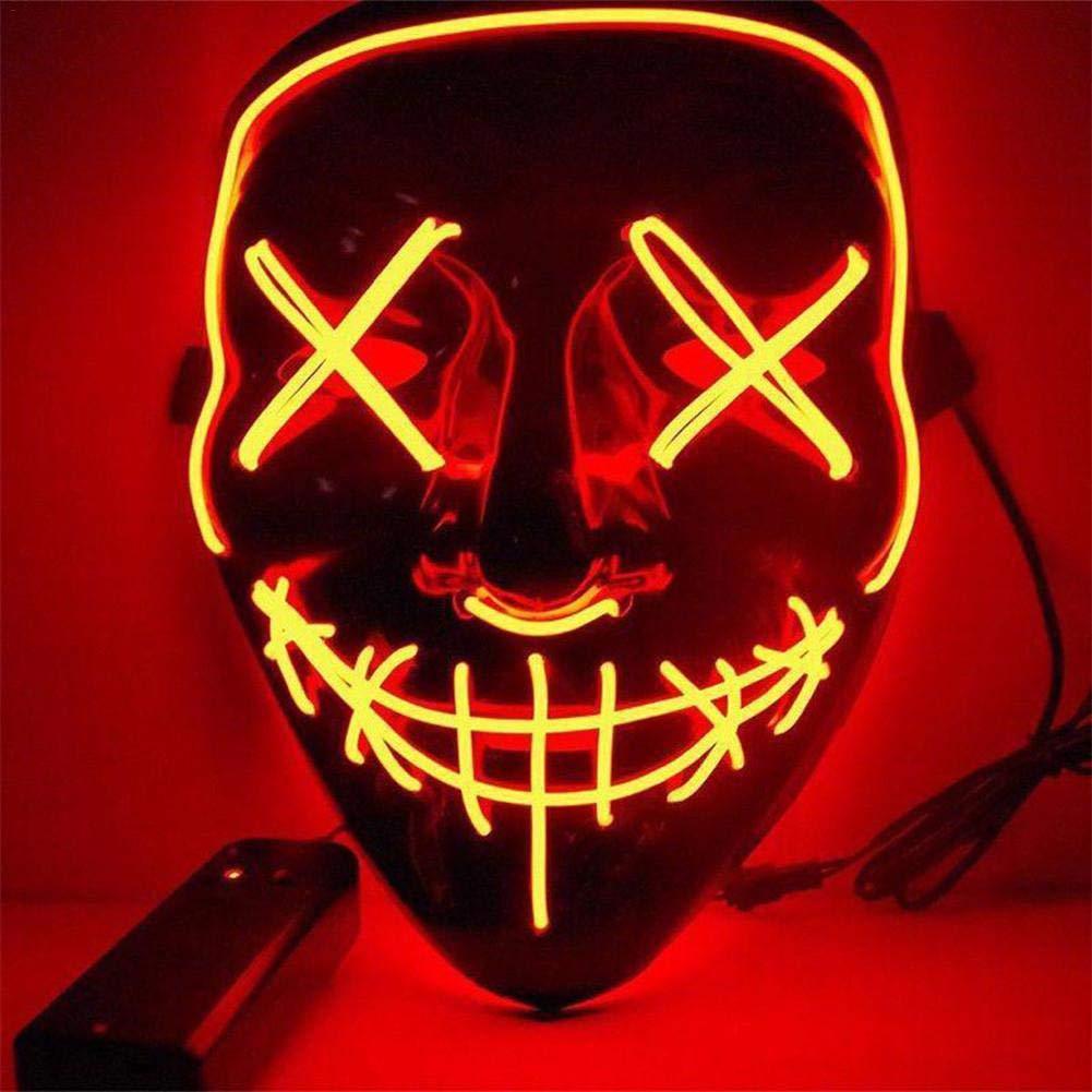PROKTH 1pcs Mascaras de Halloween Mascaras de la purga terror Disfraz la purga mujer Mascara led hombre Naranja: Amazon.es: Bricolaje y herramientas