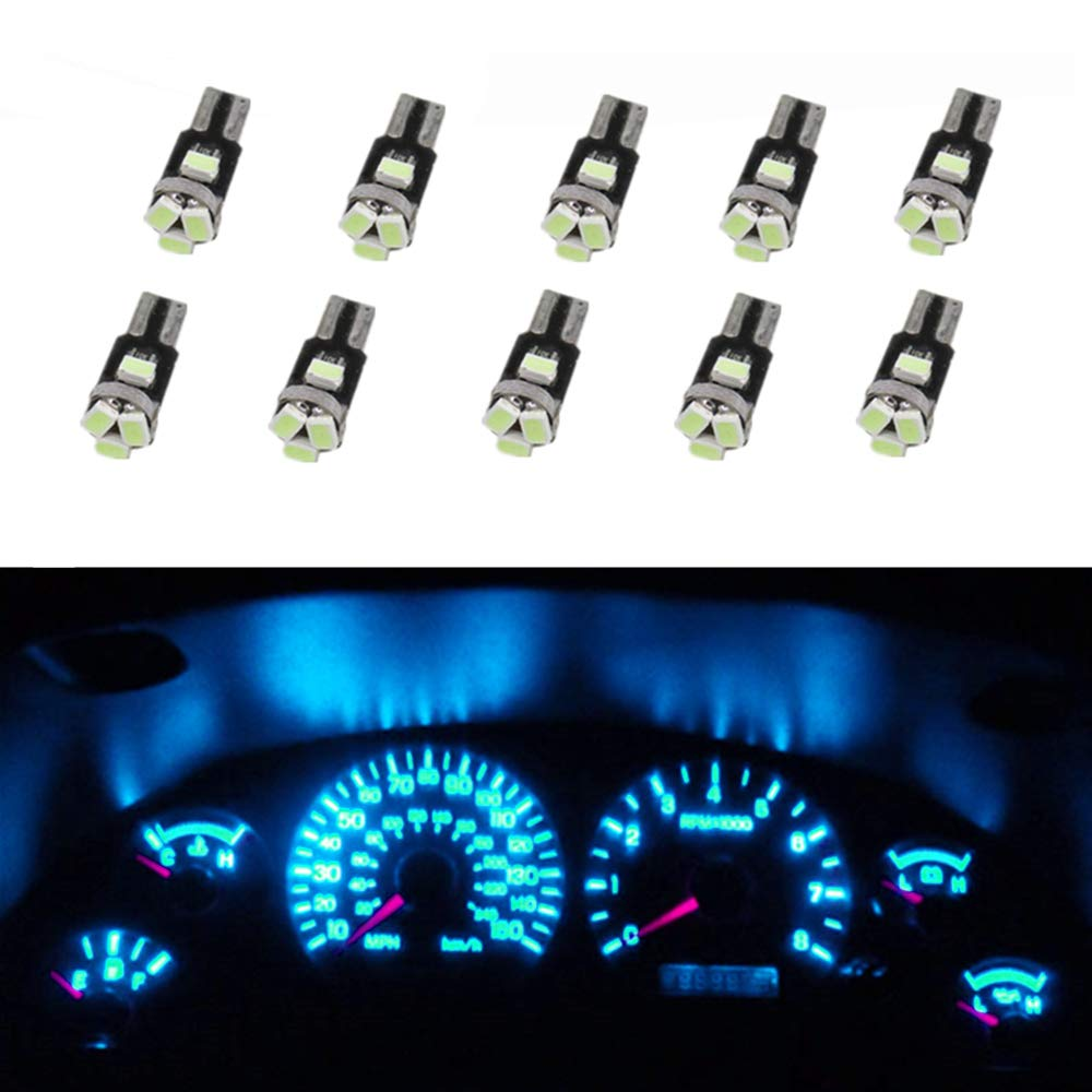 WLJH 10 pz Auto LED Lampadina T5 74 2721 Blu ghiaccio LED Lampadina 12V 3020-5SMD LED Tachimetro trattino Gauge Leggero-2 anni di garanzia