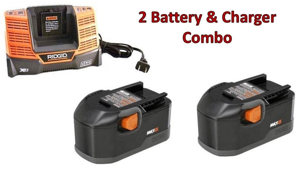 Ridgid R8411503 Drill (2 Pack) 18v NiCad MAX 2.5 Ah Batteries & (1) Charger R840091 Combo # 130254011-2BC-140154001