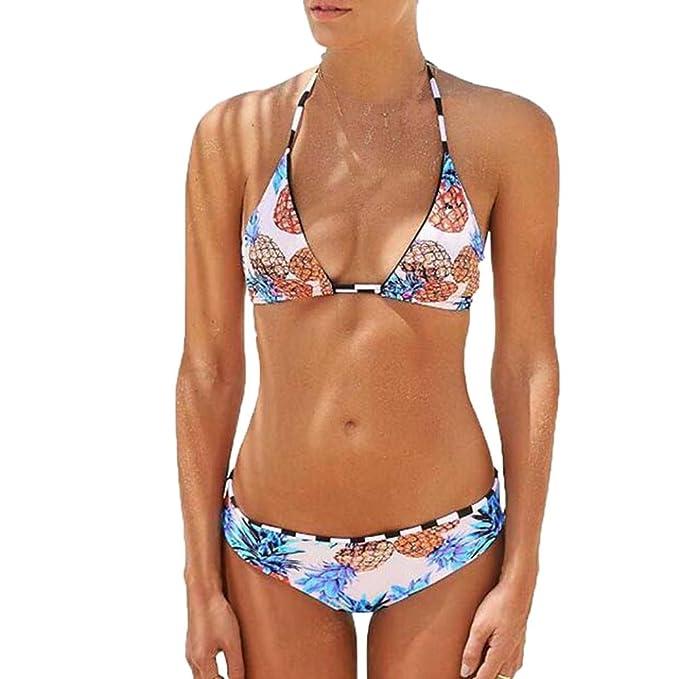 Bikinis Mujer 2018, ❤ Las Mujeres Atractivas piña impresión Acolchada Sujetador Beach Halter Bikini Set Traje de baño Absolute: Amazon.es: Ropa y ...